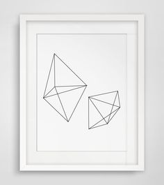 Geometric Print, Black and White Abstract Art, Prism Art Black and White by MelindaWoodDesigns, $5.00