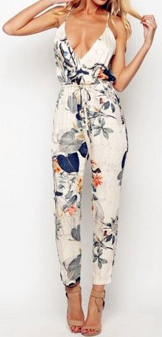 White floral jumpsuit - would wear it if it actually covered your chest :p