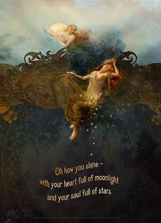 """""""Oh how she shines / knowing her heart is full of moonlight / and her soul is full of stars"""" / Part of our greeting card line """"Message from the Muse"""" / © Angi Sullins & Silas Toball / For inspiration visit Angi's Message from the Muse Blog! / For our gallery of ins… • Millions of unique designs by independent artists. Find your thing. Art And Illustration, Illustrations Posters, Moon Art, Stars And Moon, Sun Moon, Oeuvre D'art, Beautiful Words, Moonlight, Fantasy Art"""