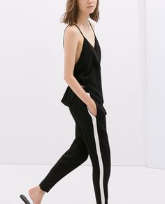 Image 3 of TROUSERS WITH COMBINATION SIDES from Zara
