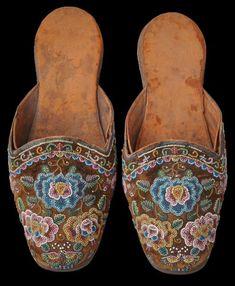 Glass Beaded Groom's Slippers (Kasut Manek) Straits Chinese Community, Singapore, Malacca or Penang circa 1890
