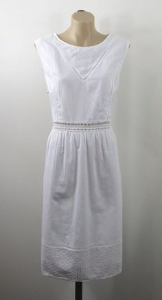 XL 14 Conbipel Ladies White Cotton Dress Boho Chic Vintage Feminine Beach Style #Conbipel #Skater #Casual