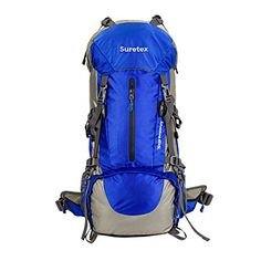 Suretex 50L60L Waterproof Outdoor Sport Hiking Trekking Camping Travel Backpack Pack Mountaineering Climbing Knapsack with Rain Cover Blue 50L * Learn more by visiting the image link. (This is an affiliate link)