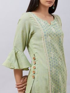 This two piece set includes kurta with pants. Green khadi cotton kurta with block printed center front panel highlighted. It has fit Neck Designs For Suits, Sleeves Designs For Dresses, Dress Neck Designs, Blouse Designs, Simple Kurti Designs, Kurta Designs Women, Salwar Designs, Stylish Dresses For Girls, Stylish Dress Designs