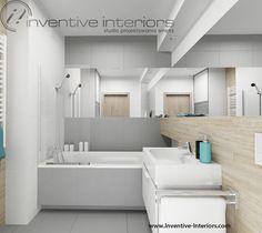 Projekt łazienki Inventive Interiors - skandynawska łazienka w szarości z płytkami drewnopodobnymi