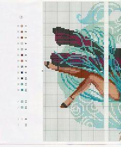 Flamenco dancers blue cross stitch 2