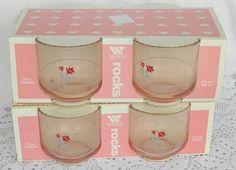 VTG New Old Stock Wheaton Fine Glassware On The Rocks Glasses Pink Rose Floral  #WheatonFineGlassware