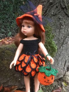 Halloween chez Corolle Chérie et Paola Reina Knit Crochet, Crochet Hats, Barbie, Sewing Toys, Point, American Girl, Baby Dolls, Doll Clothes, Creations