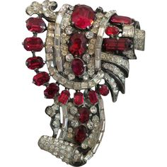 Signed Staret Fur Clip with Ruby Red Rhinestones