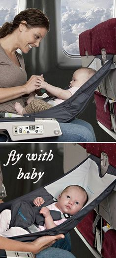 A hammock-type seat that can be used on an airplane during the cruise portion of the flight or attached to a dining room chair, creating an instant high chair.