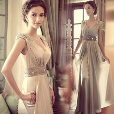 2014 New Crystals Beaded Plunge V Neck Chiffon Long Bridesmaid Evening Dresses The fabric of the graceful dress is chiffon, The plunge V neck makes it sexy.Heavy sequins crystal full up the shoulder .The waist is bright. Just wash clean it.