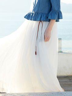 White Plain Casual Maxi Skirt