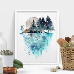 Nature Wall Art, Tree Painting , Landscape Paintings Print, Watercolor   Fravu   Extra Large Wall Art Print - Home Decor Gallery