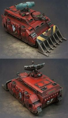 Blood-Angels Morningstar Armoured HQ Vehicle. Wargear: hull/storm-bolter; orbital-strike relay; reinforced/front & side-armour; siege-blade; transport-bay: cap 6x marines in bay w/ 6x firing-ports & rear-ramp.