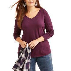 Plus Size Faded Glory Women's Plus LongSleeve Tee, Size: 4XL, Beige