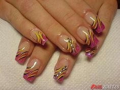 #diamond #pink nails