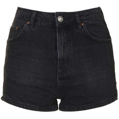 TopShop Moto High-Waisted Mom Shorts (115 BRL) ❤ liked on Polyvore featuring shorts, bottoms, short, washed black, short cotton shorts, high-rise shorts, highwaist shorts, cotton shorts and high waisted shorts