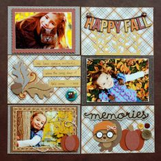 """The new craze scrappers are getting into is using photo sleeves to build a layout as you see here from Amy!  There are six 6""""x4"""" blocks you scrap individually but keep the theme related and the colors coordinating.  Amy combines svg's from several kits to create her Happy Fall Layout.  Keep it simple or get as elaborate as you want!  This is adorable and how cute is that squirrel!!!!  For full instructions, check it out here…"""