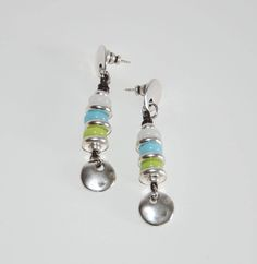 Thick silver plated zamak earrings, vintage style with light green,turquoise,cream lamp work beads,leather long earrings,uno de 50 style by OtroAccesorio on Etsy
