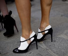 Valentino patent leather and velvet black and white T-bar saddle-shoe pumps. Tuxedo heels. Photo: Christian Vierig / ASP