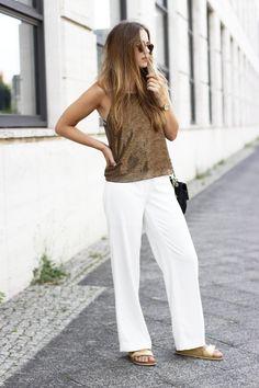 Hot summer look - Goldschnee. Bronze top+white wide pants+golden slide sandals+black shoulder bag+sunglasses. Late Summer Outfit 2016