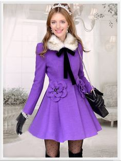 Morpheus Boutique  - Purple Hair Collar Bow Button Down Wool Long Sleeve Lovely Coat