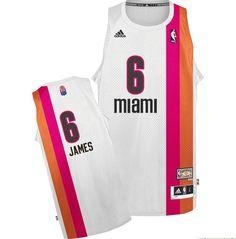 9a7c19116 Adidas NBA Miami Heat 6 LeBron James Swingman Retro White Rainbow Jersey