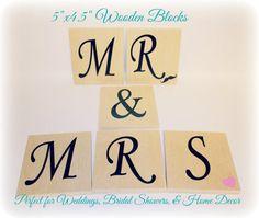 "Mr and Mrs Wood (5""x4.5), Large Wood Wedding Decor, Mr"