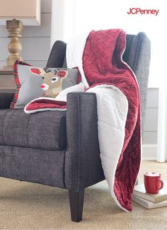 Tap to Shop!// Creating Christmas cozy is as easy as tossing a luxe berry sherpa throw and holiday pillow on a living room chair. Red and velvety on one side, soft and fleece-y on the other, this may just be the most popular spot in the house for a little Christmastime downtime.