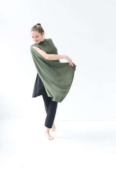 Green Womens long versatile vest in Rayon from Bamboo blended with cotton and a little Spandex. Available at www.jqlovesu.com. $79