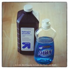 """Typically I love using liquid Tide or Shout as a stain pretreater for all of my family's (many) stains. However, if you're looking for a cheaper """"tightwad"""" alternative, this solution works pretty good.  Ingredients: 2 parts hydrogen peroxide 1 part original blue Dawn dish detergent  Mix together in a spray bottle."""