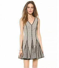 Halston Heritage V Neck Jacquard Dress $445