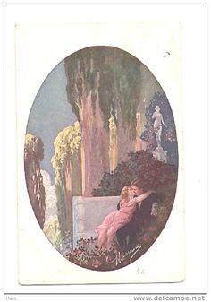 Couple enlacé s'embrassant - Médaillon - Illustrateur Guerzoni - Style Art Déco…