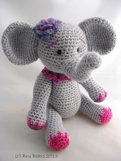 This pattern can be used to make both elephants, I used a cobweb merino with a .75mm hook to make the smaller elephant.