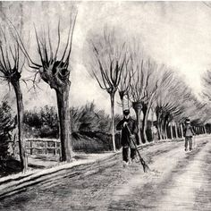 Road with Pollard Willows and Man with Broom Artist: Vincent van Gogh Completion Date: 1881 Place of Creation: Netherlands Style: Realism Genre: sketch and study Technique: pencil, ink Material: paper Dimensions: x cm Gallery: Metropolitan Museu Vincent Van Gogh, Van Gogh Drawings, Ink Drawings, Post Impressionism, Willow Tree, Canvas Art Prints, Les Oeuvres, Art History, Printmaking