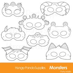 Monster Printable Coloring Masks halloween by HungryPandaSupplies $3.39 INSTANT DOWNLOAD