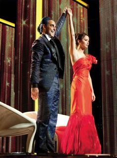 Katniss Everdeen girl-on-fire gown in #HungerGames designed by 3x Oscar nominee Judianna Makovsky