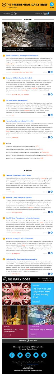 The Presidential Daily Brief – - Really Good Emails Best Email, Email Newsletters, Email Design, Public, Social Media, Content, Universe, Digital, Reading