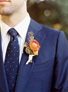 Navy blue polka dot tie: http://www.stylemepretty.com/california-weddings/mountain-view/2016/01/08/intimate-romantic-outdoor-summer-wedding/ | Photography: Meghan Mehan - http://meghanmehan.com/
