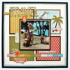 Scrapbook Layout Simple Middle - Tracy McLennon Take on the April Sketchy Challenge. Beach Scrapbook Layouts, Travel Scrapbook Pages, Paper Bag Scrapbook, Vacation Scrapbook, Scrapbook Supplies, Scrapbook Cards, Kids Scrapbook, Simple Scrapbook Ideas, Simple Scrapbooking Layouts