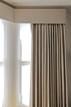 grey curtains with white voile and pelmit - Window Pelmets, Corner Curtains, Bay Window Curtains, Ceiling Curtains, Home Curtains, Grey Curtains, Curtains Living, Modern Curtains, Curtains With Blinds