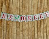 Banner, Be Merry Christmas Banner, Paper Banner $13
