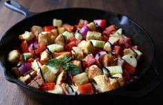One Skillet Panzanella Salad with Crispy Brioche Croutons