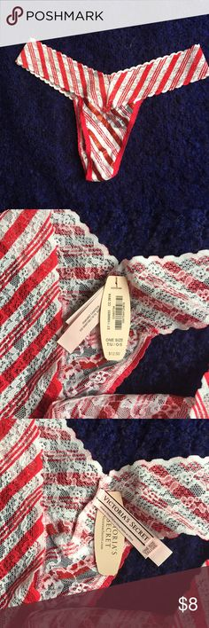 Victoria's Secret Candy Cane Thong New with tags. Perfect for Christmas time. Victoria's Secret Intimates & Sleepwear Panties