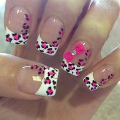 French Mani with pink & black print  - bellashoot.com