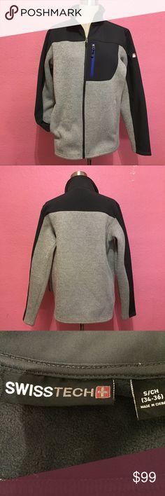 Men's SwissTech mixed knit jacket size small Men's SwissTech mixed knit jacket size small Slate blue & gray SwissTech Jackets & Coats