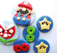 Button Red Mario bros handmade polymer clay buttons ( 6 )