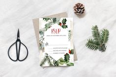 Christmas Thank You, Christmas Wedding, Wedding Rsvp, Wedding Suite, Winter Shower, Wedding Response Cards, Baby Shower Thank You Cards, Custom Tags, Holly Leaf
