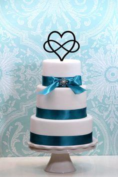 Infinity Open Heart Wedding Cake Topper by WyaleDesigns on Etsy, $15.00