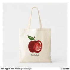 Red Apple Add Name Tote Bag Teacher Appreciation Gifts, Teacher Gifts, Teacher Tote Bags, Monogram Tote Bags, Budget Fashion, Cheap Gifts, Red Apple, Personalized Gifts, Reusable Tote Bags